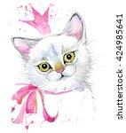 Stock photo cute cat watercolor illustration 424985641