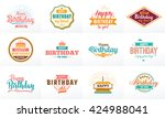 happy birthday typography set.... | Shutterstock .eps vector #424988041