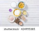 different bath salts  bees wax  ... | Shutterstock . vector #424995385