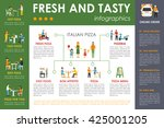 fresh and tasty pizza... | Shutterstock .eps vector #425001205