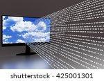 computer screen with flowing... | Shutterstock . vector #425001301
