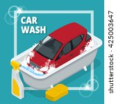 business concept car wash. car... | Shutterstock .eps vector #425003647