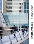 Blured City workers at Canary Wharf, London. - stock photo