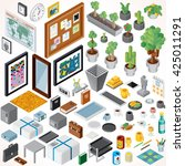 isometric interior objects and... | Shutterstock .eps vector #425011291