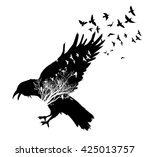 isolated raven double exposure. ... | Shutterstock .eps vector #425013757