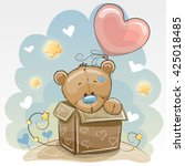 birthday card with a cute teddy ... | Shutterstock .eps vector #425018485