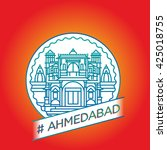 vector line ahmedabad badge | Shutterstock .eps vector #425018755