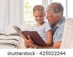 grandfather and granddaughter... | Shutterstock . vector #425022244