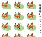 cute fox pattern with grass and ... | Shutterstock .eps vector #425028739