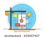 thin line flat design concept... | Shutterstock .eps vector #425037427