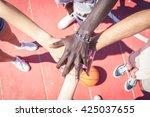 group of multiracial basketball ...   Shutterstock . vector #425037655