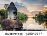 stone asura on causeway near...   Shutterstock . vector #425040877