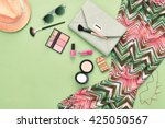 urban summer girl colorful... | Shutterstock . vector #425050567