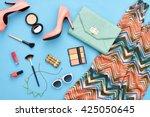 urban summer girl colorful... | Shutterstock . vector #425050645