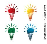 colorful bulb icons on white... | Shutterstock .eps vector #425051995