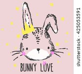 cute bunny illustration for... | Shutterstock .eps vector #425053591