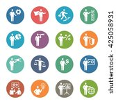 business   management icons set ... | Shutterstock .eps vector #425058931