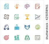 business   management icons set ... | Shutterstock .eps vector #425058961