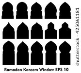 vector islamic door and window... | Shutterstock .eps vector #425061181