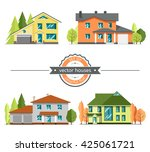 set of flat vector houses on... | Shutterstock .eps vector #425061721
