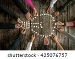 teamwork and cooperation... | Shutterstock . vector #425076757