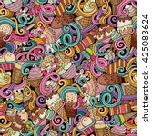 cartoon hand drawn ice cream... | Shutterstock .eps vector #425083624
