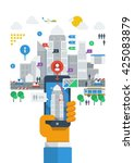 city infographic  abstract... | Shutterstock .eps vector #425083879