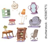 set of cute furniture. vector... | Shutterstock .eps vector #425087971