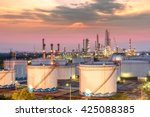 oil and gas refinery at sunset  ... | Shutterstock . vector #425088385