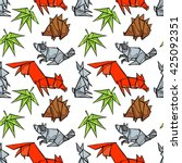 origami. forest animals  fox ... | Shutterstock .eps vector #425092351