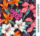 tropical floral seamless... | Shutterstock .eps vector #425096851
