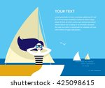 young long haired girl with a... | Shutterstock .eps vector #425098615