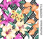 tropical floral seamless... | Shutterstock .eps vector #425098711