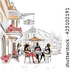 fashion girls in the street... | Shutterstock .eps vector #425102191