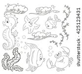 set of marine inhabitants.... | Shutterstock .eps vector #425123431