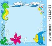 frame inhabitants of the ocean. ... | Shutterstock .eps vector #425123455