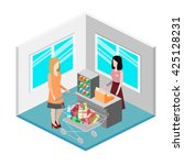 isometric interior of grocery... | Shutterstock . vector #425128231