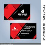 business card template red and... | Shutterstock .eps vector #425129161