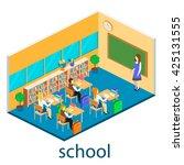 isometric interior of school....   Shutterstock . vector #425131555