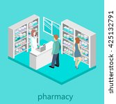isometric interior of pharmacy | Shutterstock . vector #425132791