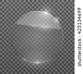 flat glass circle. glass plate. ... | Shutterstock .eps vector #425134699