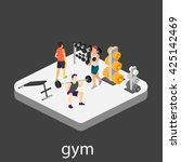 isometric interior of gym.... | Shutterstock . vector #425142469