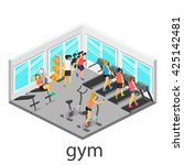 isometric interior of gym.... | Shutterstock . vector #425142481