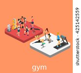isometric interior of gym.... | Shutterstock . vector #425142559