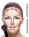 contouring.make up woman face....   Shutterstock . vector #425147635