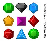 set of multicolored gems for... | Shutterstock . vector #425150134