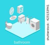 isometric interior of bathroom | Shutterstock . vector #425153941