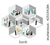 isometric interior of bank | Shutterstock . vector #425154184