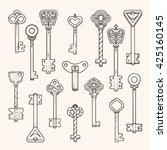 antique keys  ancient symbols ... | Shutterstock .eps vector #425160145