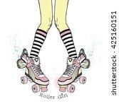 teenager girl in rollers. hand... | Shutterstock .eps vector #425160151